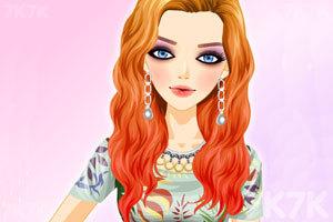 《红金色混搭发型》游戏画面1