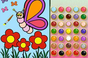 《花园蝴蝶涂色》游戏画面1