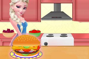 艾莎制作汉堡