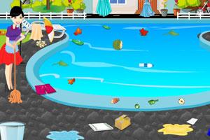 女孩后院水池清洁